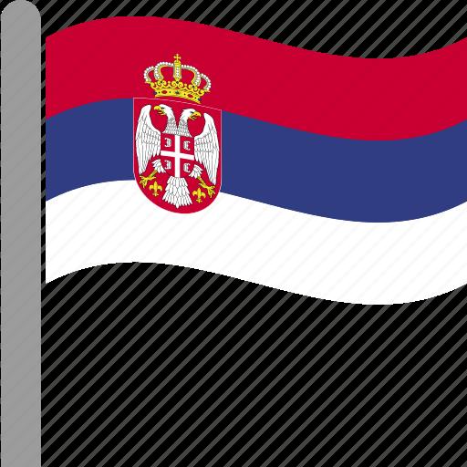 country, flag, pole, serbia, serbian, srb, waving icon