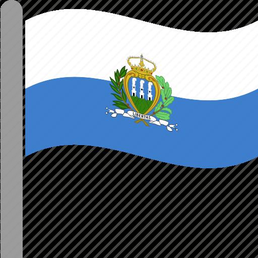 country, flag, marino, pole, san, waving icon