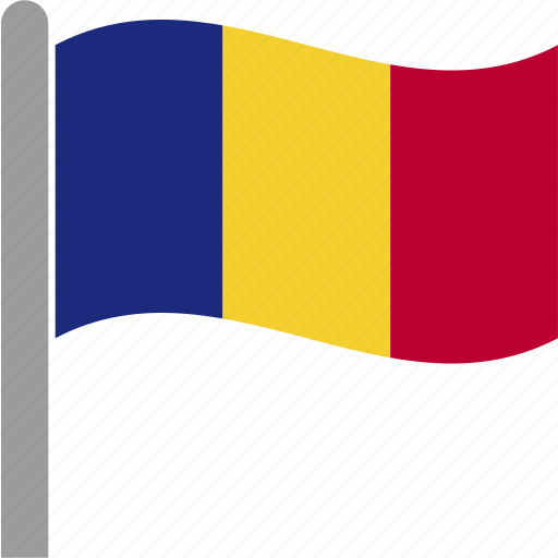 country, flag, pole, romania, romanian, rou, waving icon