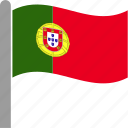 country, flag, pole, portugal, portuguese, prt, waving icon