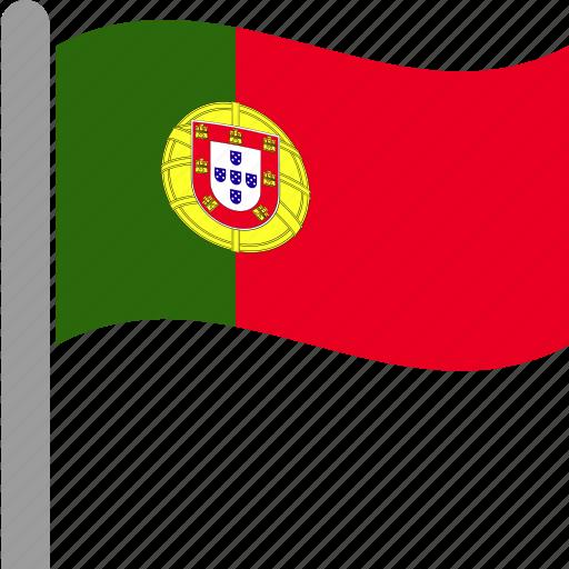 country, flag, pole, portugal, portuguese, prt, waving icon