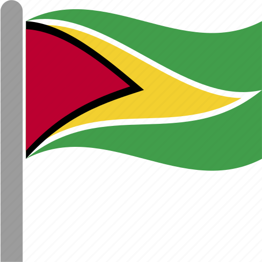 country, flag, guy, guyana, guyanese, pole, waving icon