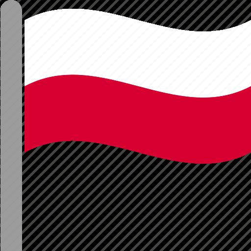 country, flag, pol, poland, pole, polish, waving icon