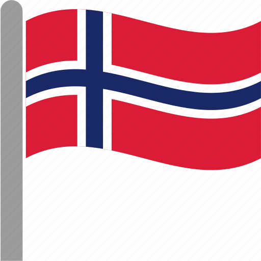 country, flag, nor, norway, norwegian, pole, waving icon