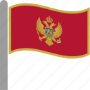 country, montenegro, flag, waving, pole, balkans, mne icon