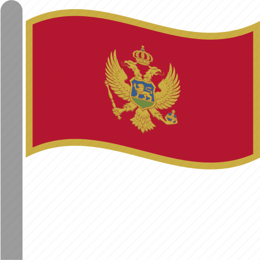 balkans, country, flag, mne, montenegro, pole, waving icon