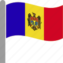 country, flag, mda, moldova, moldovan, pole, waving icon