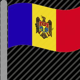 country, flag, mda, moldova, moldovan, pole, waving icon