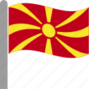 country, flag, fyrom, macedonia, macedonian, mkd, waving icon