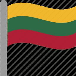 country, flag, lithuania, ltu, pole, waving icon