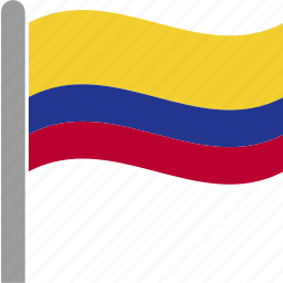 col, colombia, colombian, country, flag, pole, waving icon