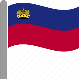 country, flag, lie, liec, liechtenstein, pole, waving icon