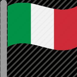 country, flag, ita, italian, italy, pole, waving icon