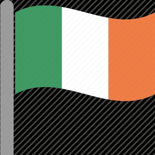 country, flag, ireland, irish, pole, republic, waving icon
