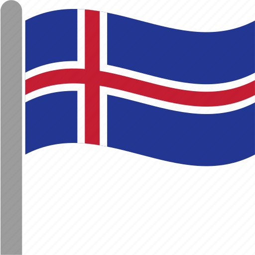 country, flag, iceland, icelandic, isl, pole, waving icon