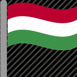 country, flag, hun, hungarian, hungary, pole, waving icon