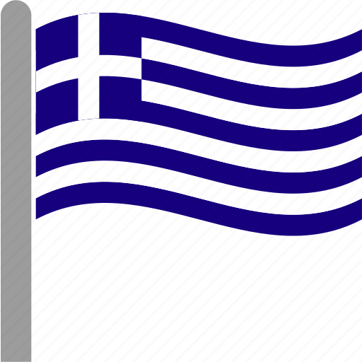 country, flag, grc, greece, greek, pole, waving icon