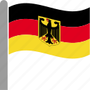 country, deu, flag, german, germany, pole, waving icon