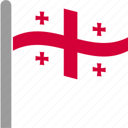 country, flag, georges, georgia, georgian, pole, waving icon
