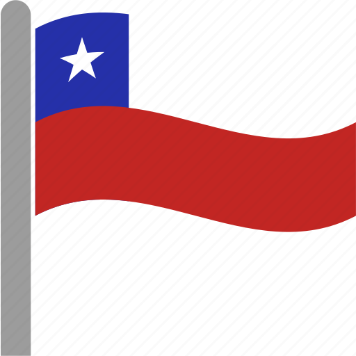 chile, chilean, chl, country, flag, pole, waving icon