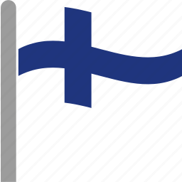 country, fin, finland, finnish, flag, pole, waving icon