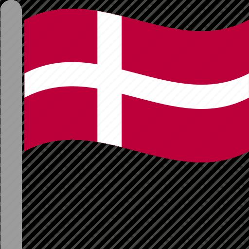 country, danish, denmark, dnk, flag, pole, waving icon