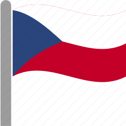country, czech, flag, koruna, pole, republic, waving icon