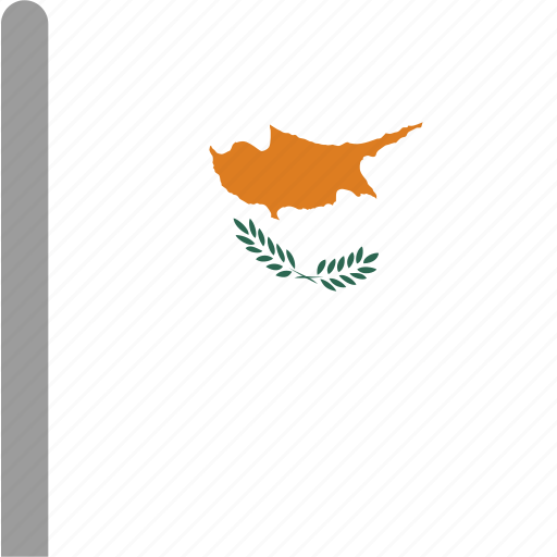 country, cyp, cyprus, flag, pole, waving icon