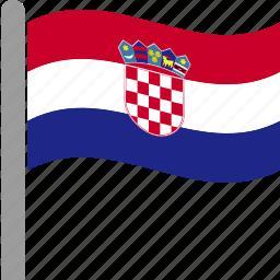 country, croatia, croatian, flag, hrv, pole, waving icon