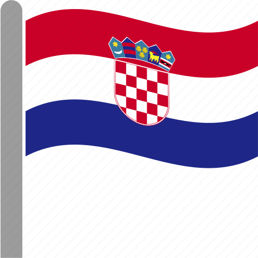 country, croatia, croatian, flag, hrv, pole, waving icon