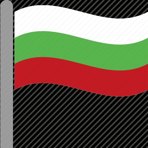 bgr, bulgaria, bulgarian, country, flag, pole, waving icon