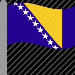 and, balkans, bosnia, country, flag, herzegovina, waving icon