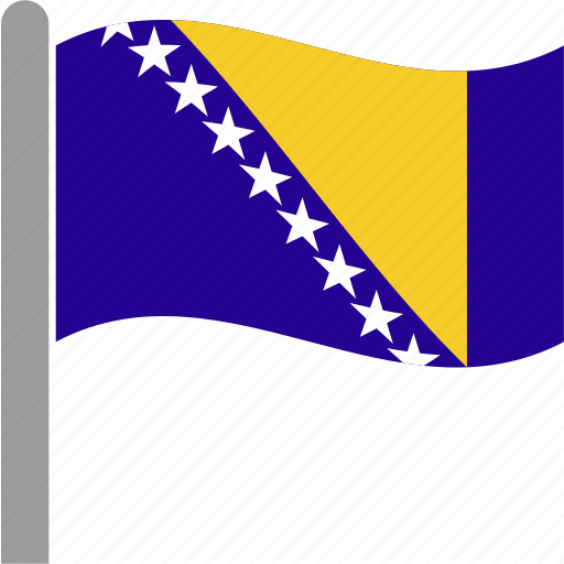 and, balkans, bosnia, country, flag, herzegovina, waving icon