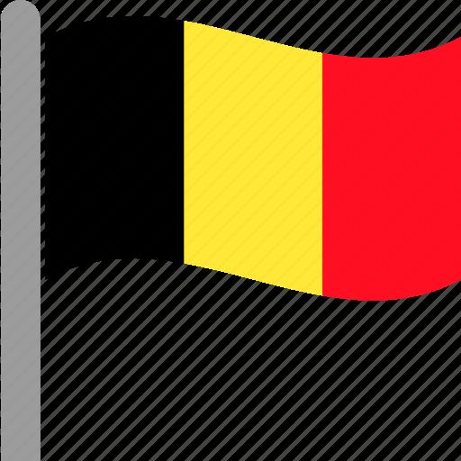 belgian, belgium, country, dutch, flag, pole, waving icon