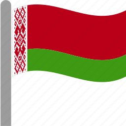 belarus, belarusian, country, flag, pole, ruble, waving icon