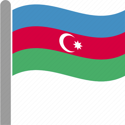 aze, azerbaijan, azerbaijani, country, flag, pole, waving icon