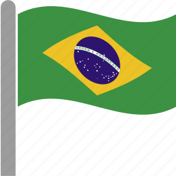bra, brazil, brazilian, country, flag, pole, waving icon