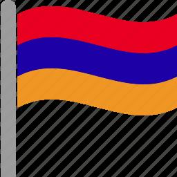 armenia, armenian, country, flag, pole, waving, yerevan icon