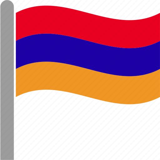 armenia, armenian, country, flag, pole, waving, yerevan icon