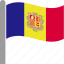 andorra, catalan, country, flag, pole, waving icon