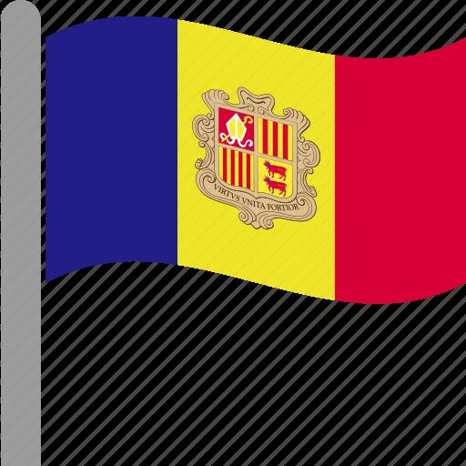 andorra, catalan, country, flag, pole, waving icon