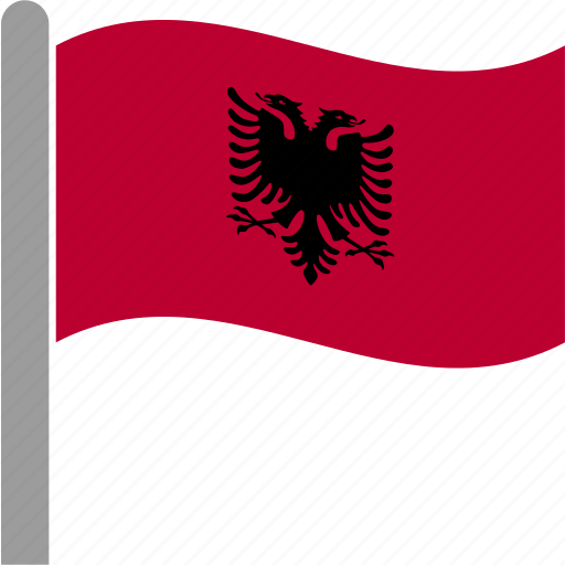 Albania Albanian Country Flag Lek Tirana Waving Icon Icon - Albania flag