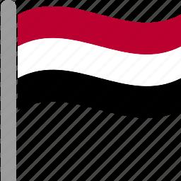 country, flag, pole, waving, yem, yeman, yemeni icon