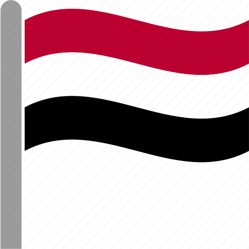 country, flag, pole, waving, yem, yeman, yemeni icon