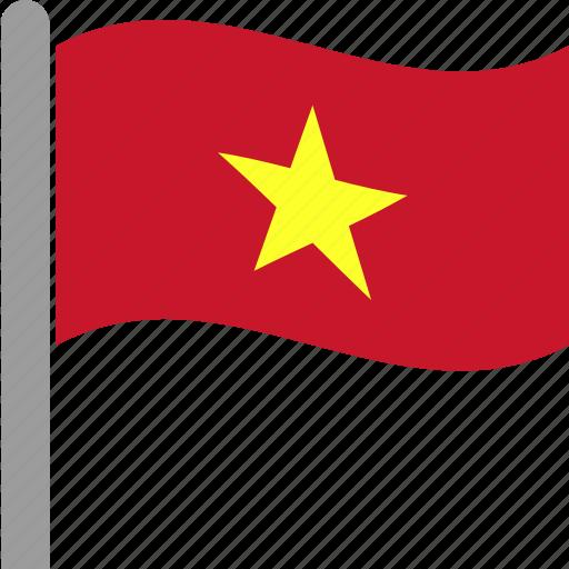 country, flag, pole, vietnam, vietnamese, vnm, waving icon