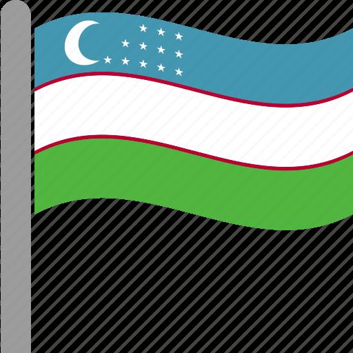 country, flag, pole, tashkent, uzbek, uzbekistan, waving icon
