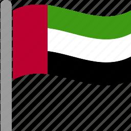 arab, country, emirates, flag, uae, united, waving icon