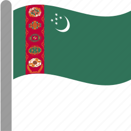 country, flag, pole, tkm, turkmen, turkmenistan, waving icon