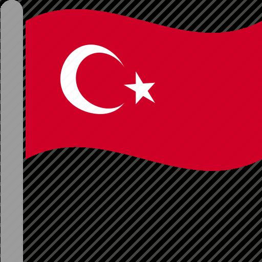 country, flag, pole, tur, turkey, turkish, waving icon