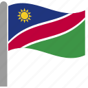 country, flag, nam, namibia, namibian, pole, waving icon